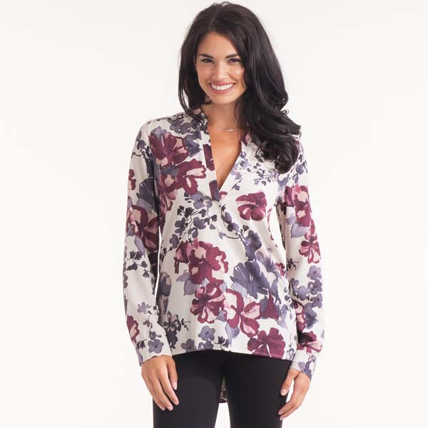 Honey Punch Split-Neck Floral Tunic