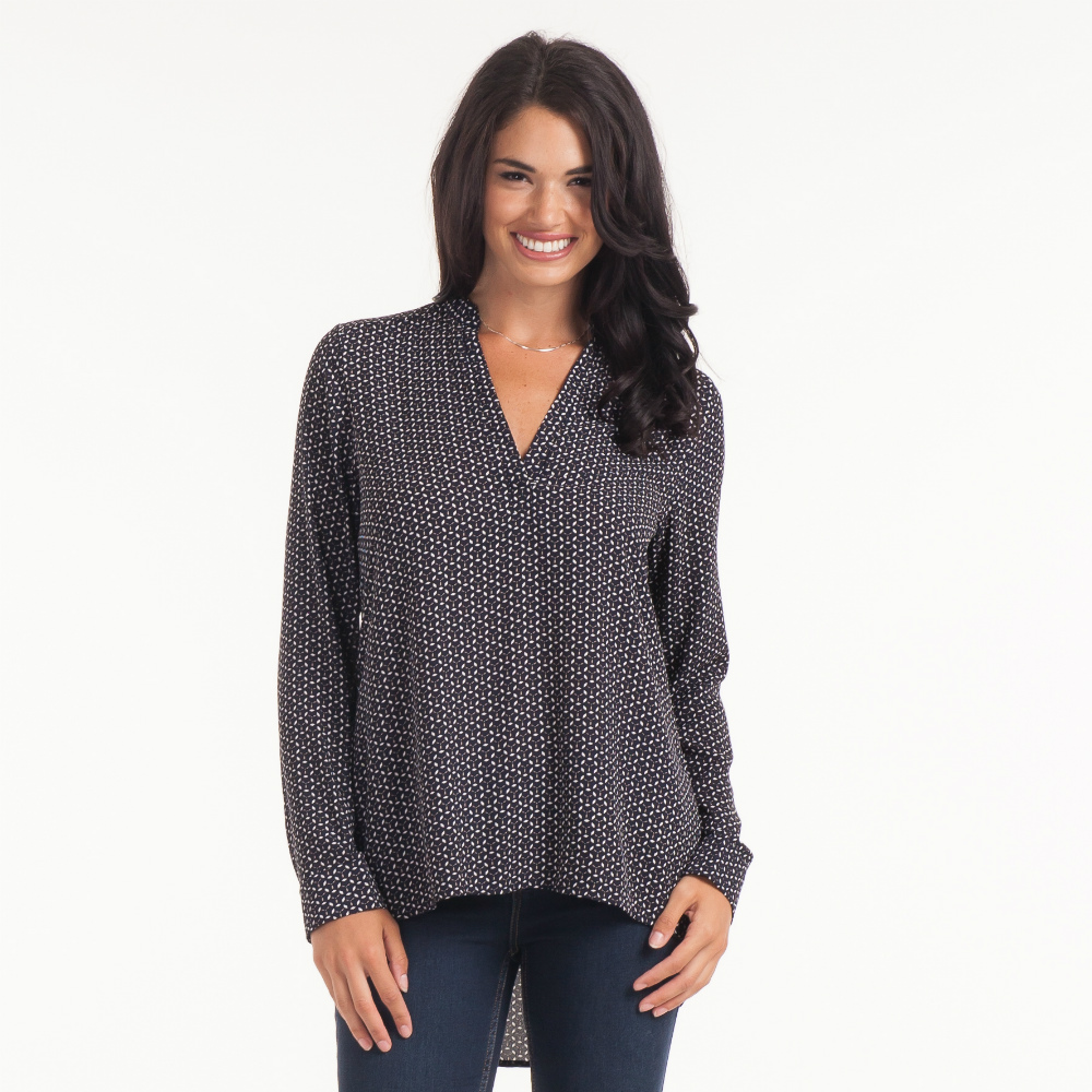 Honey Punch Split Neck Geo Tunic