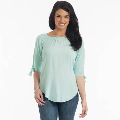 Tie Sleeve Top in Mint