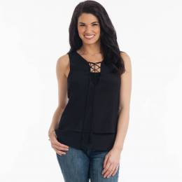 Honey Belle Two-Layer Tie Neck Tank in Black