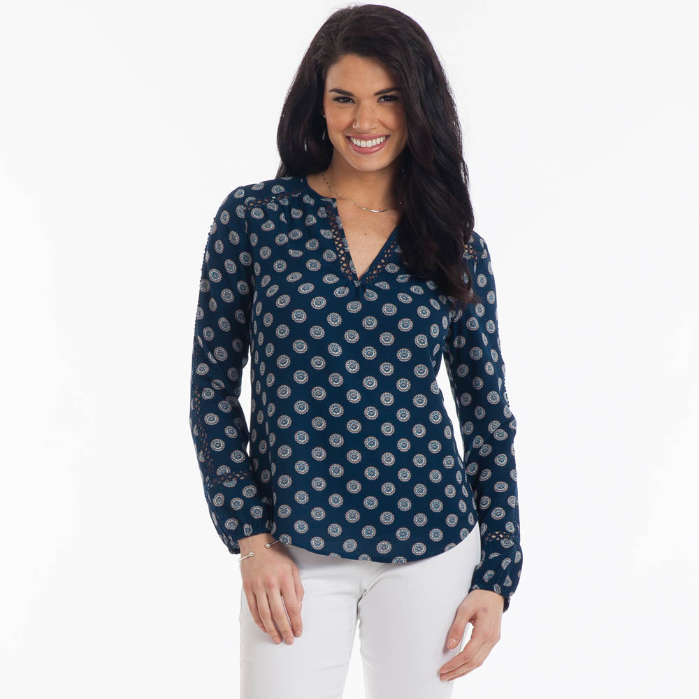 Honey Punch Medallion Print Top in Navy Blue