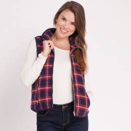 Mia + Tess Designs ™ Plaid Zipper Vest in Red and Navy