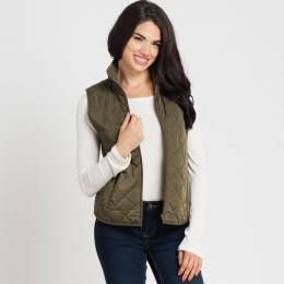 Mia and Tess Quilted Sherpa Fleece Vest in Olive