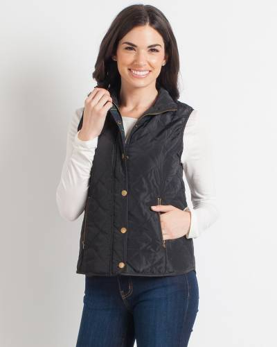 Exclusive Quilted Plaid-Lined Vest