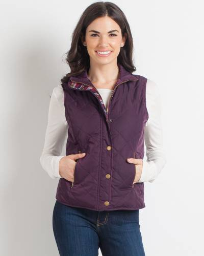 Quilted Plaid-Lined Vest in Plum