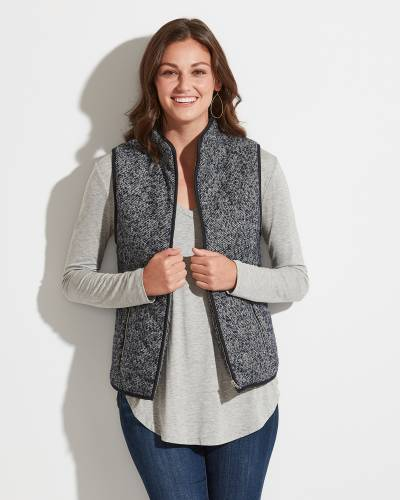 Exclusive Fuzzy-Lined Vest in Navy and White