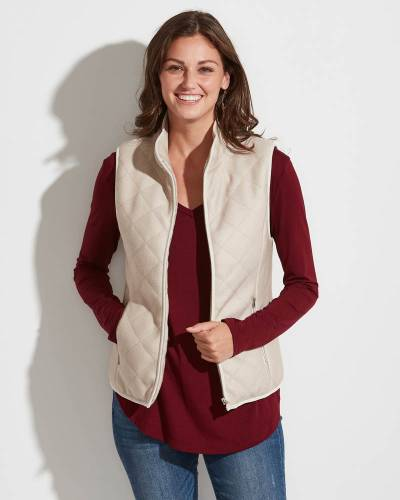 Exclusive Quilted Fuzzy-Lined Vest in Mauve