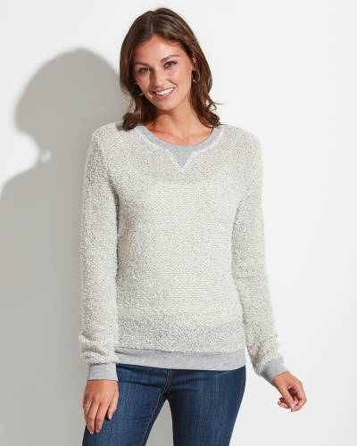 Exclusive Fuzzy Top in Ivory and Grey