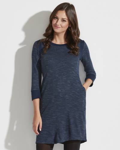 Exclusive Textured Dress in Navy