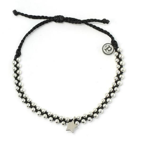 Pura Vida Bracelets Black Track Bead and Bitty Star Bracelet