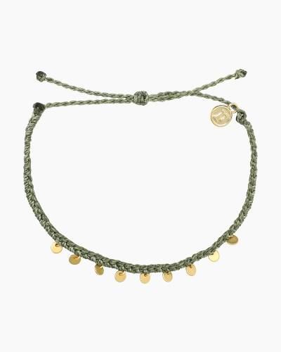 Mini Braided Coin Anklet in Sage Green