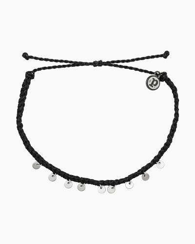 Mini Braided Coin Anklet in Black