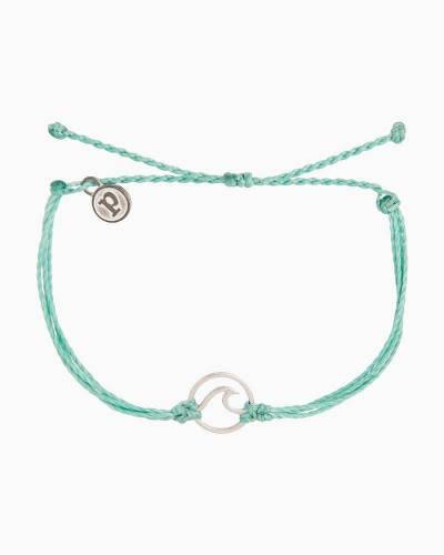 Silver Wave Charm Bracelet in Minty Green