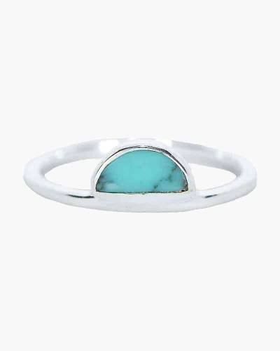 Half Moon Turquoise Ring in Silver