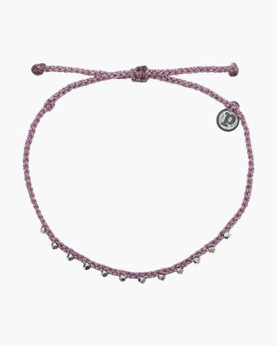 Stitched Beaded Anklet in Lavender and Silver