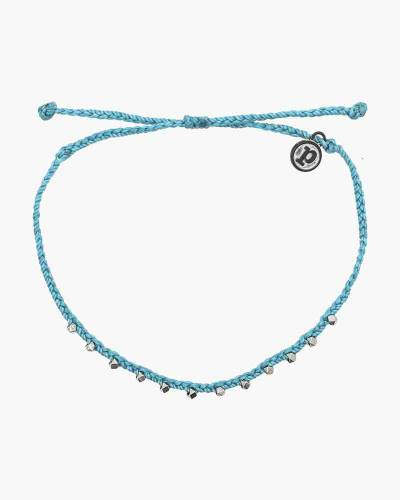 Stitched Beaded Anklet in Pacific Blue and Silver
