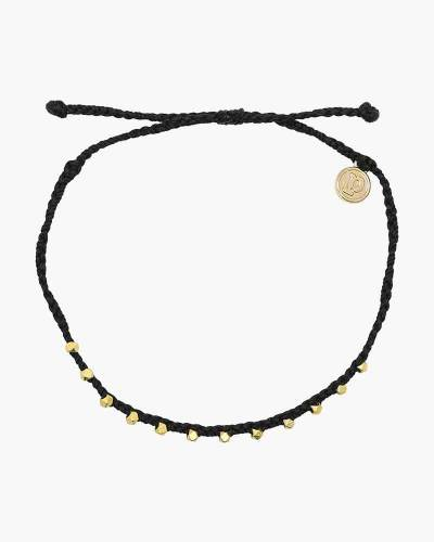Stitched Beaded Anklet in Black and Gold