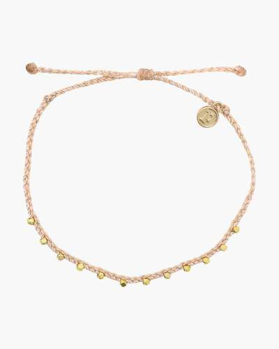Stitched Beaded Anklet in Blush and Gold