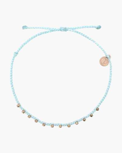 Stitched Beaded Anklet in Ice Blue and Rose Gold