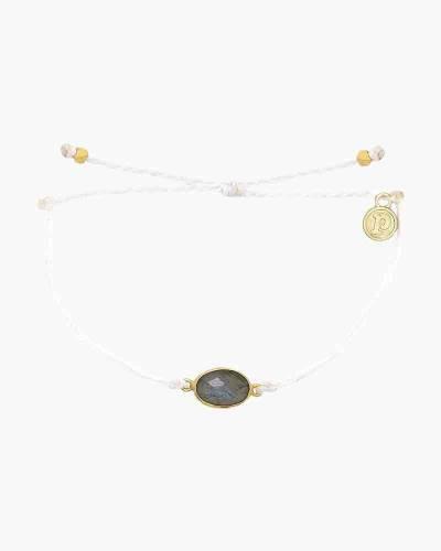 Oval Labradorite Charm Bracelet in White