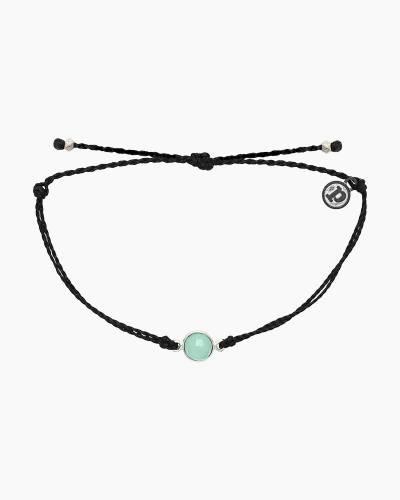 Aqua Stone Charm Bracelet in Black