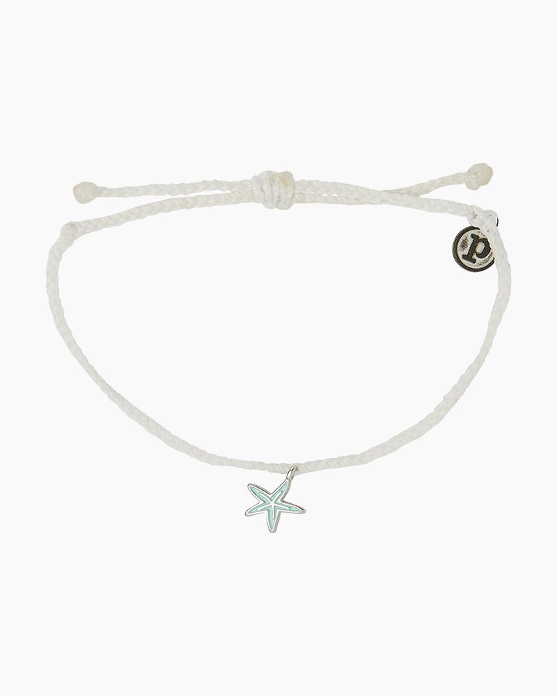 Silver Starfish Enamel Charm Bracelet
