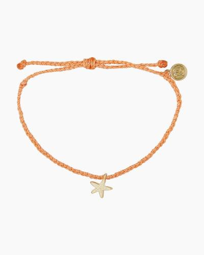Gold Starfish Enamel Charm Bracelet in Coral