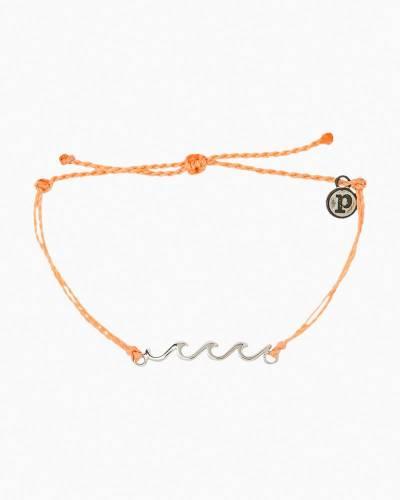 Silver Delicate Wave Bracelet in Peach