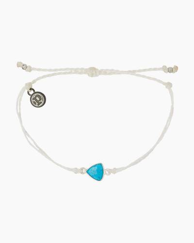 Turquoise Triangle Charm Braided White Cord Bracelet