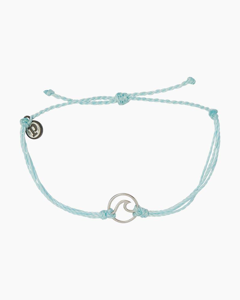 Silver Wave Charm Bracelet In Ice Blue