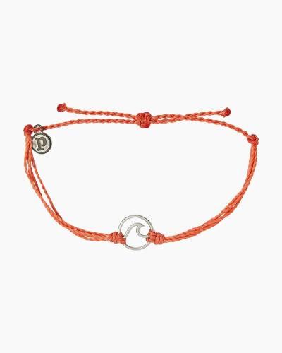 Silver Wave Charm Bracelet in Coral