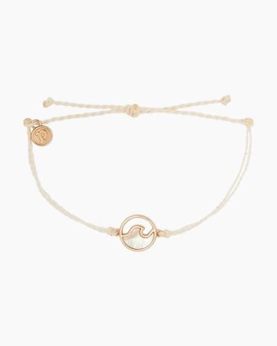 Rose Gold Stone Wave Charm Vanilla Cord Bracelet