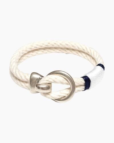 Open Hook Clasp Bracelet in Ivory/Navy/Silver