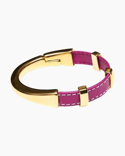 Gold Clasp Leather Regent Bracelet in Pink
