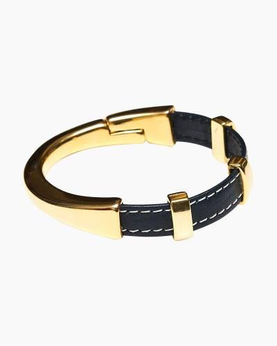 Gold Clasp Leather Regent Bracelet in Navy