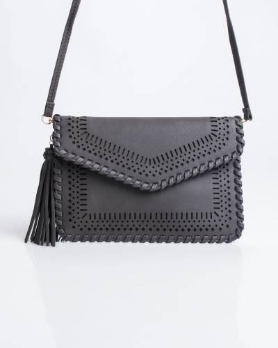Perforated Crossbody Bag in Black