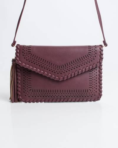 Perforated Crossbody Bag in Burgundy