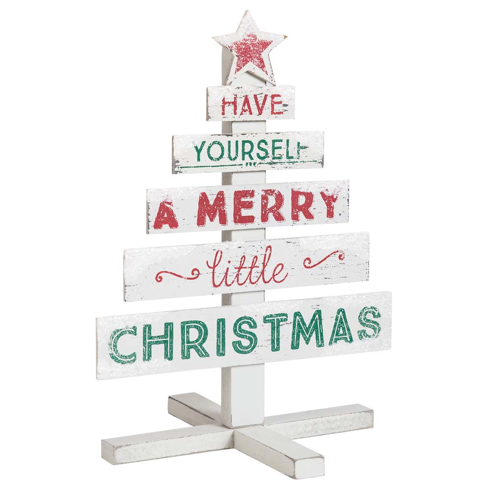 Whiskey Mountain Merry Little Christmas Rustic Wooden Tree