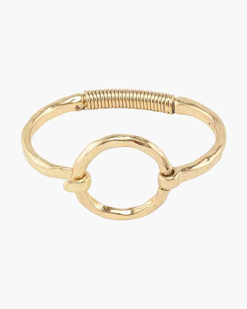 Mia and Tess Hammered Circle Latch Bracelet in Gold