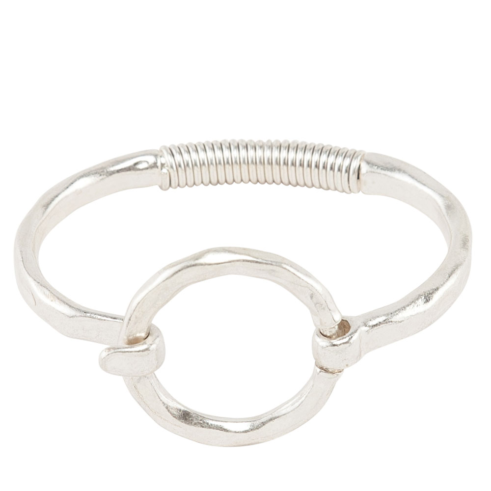 Mia and Tess Hammered Circle Latch Bracelet in Silver