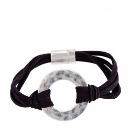 Pomina Faux Suede Silver Ring Bracelet in Black