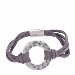 Pomina Faux Suede Silver Ring Bracelet in Grey