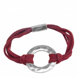Pomina Faux Suede Gold Ring Bracelet in Burgundy