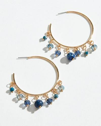 Exclusive Navy Filigree Teardrop Earrings in Silver