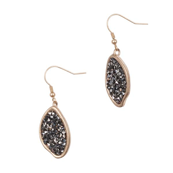 Mia and Tess Hematite Pave Earrings
