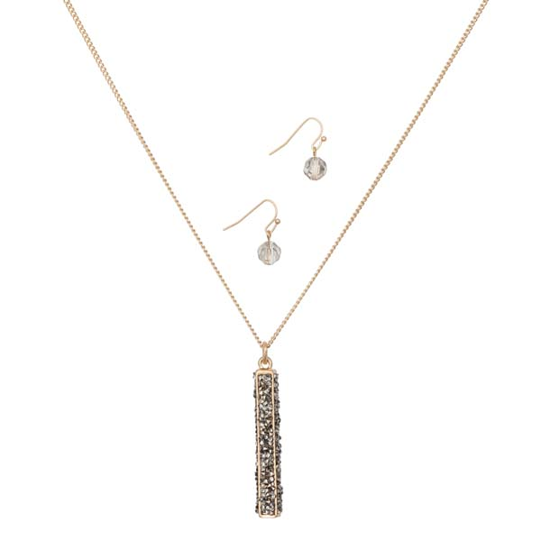 Mia and Tess Pave Tube Pendant Necklace and Earrings Set