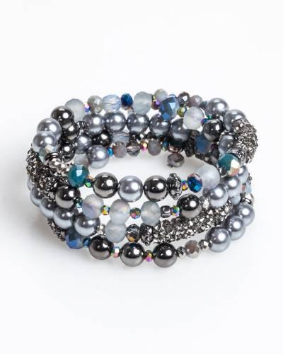 Beaded Coil Bracelet in Blue