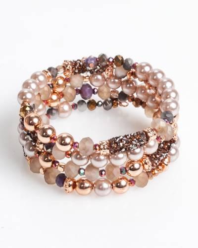 Beaded Coil Bracelet in Pink