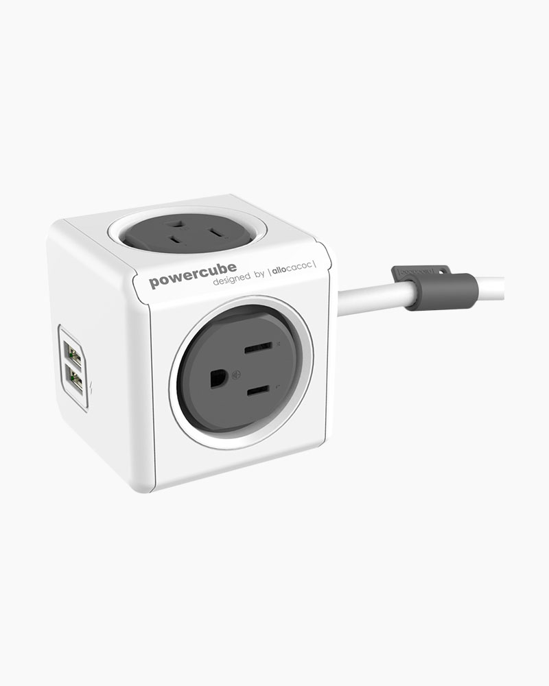 Allocacoc Grey PowerCube Outlet and USB Combo (5-foot cable)
