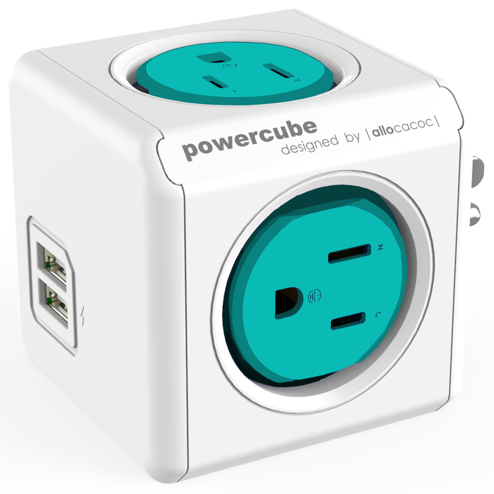 Allocacoc Aqua Blue PowerCube Outlet and USB Combo